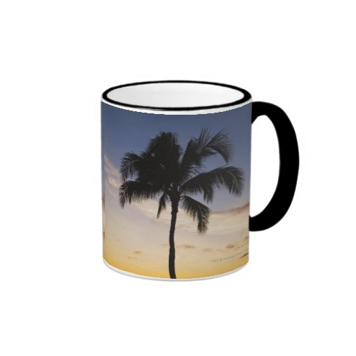 Silhouette of one Palm Tree by a Red Orange Sunset Ringer Coffee Mug