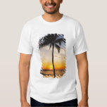 Silhouette of one Palm Tree by a Red Orange Sunset T-Shirt