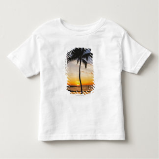 Silhouette of one Palm Tree by a Red Orange Sunset Toddler T-shirt
