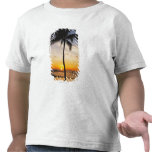 Silhouette of one Palm Tree by a Red Orange Sunset Shirt