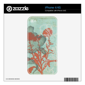 Silhouette of Red Flowers on Teal Background Decal For iPhone 4