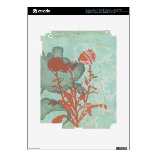 Silhouette of Red Flowers on Teal Background iPad 3 Decals
