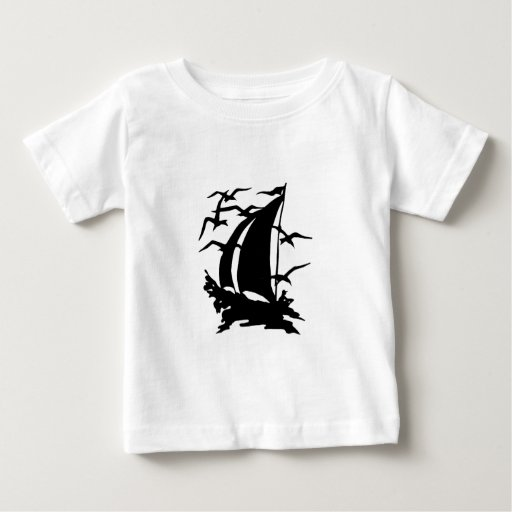 Silhouette of Sailboat and Seagulls Shirt