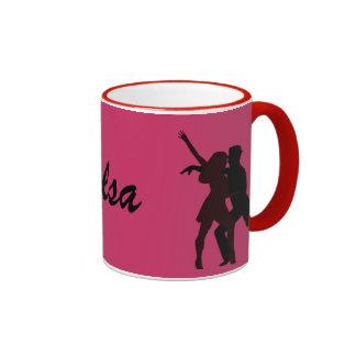 Silhouette of Salsa Dancers Ringer Coffee Mug