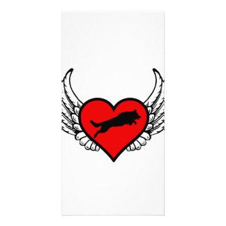 Silhouette of Shepherd dog Jumping on angel heart Card
