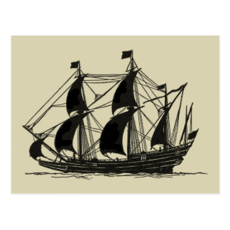 Silhouette of Ship with Billowing Sails Post Card