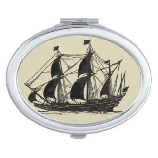 Silhouette of Ship with Billowing Sails Vanity Mirror