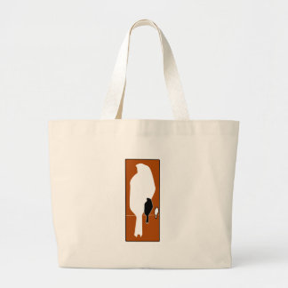 silhouette of sitting birds large tote bag