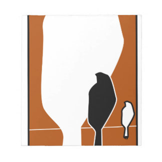 silhouette of sitting birds notepad