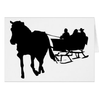 Silhouette of Sleigh Ride in Winter Card
