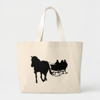 Silhouette of Sleigh Ride in Winter Large Tote Bag