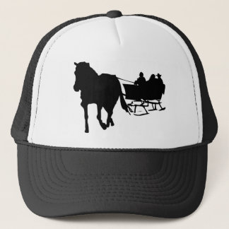 Silhouette of Sleigh Ride in Winter Trucker Hat