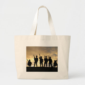 Silhouette of Soldiers in 101st Airborne Division Tote Bags