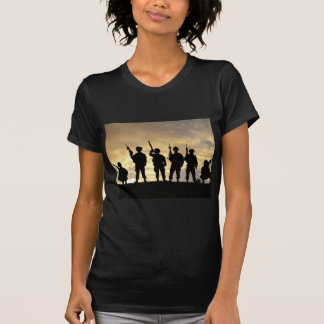 Silhouette of Soldiers in 101st Airborne Division Shirt
