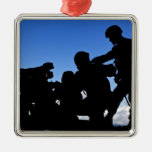 Silhouette of soldiers metal ornament