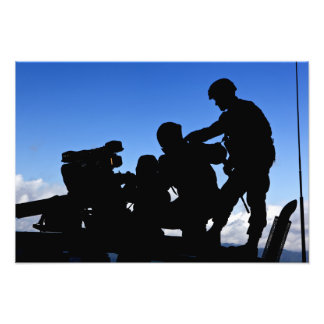 Silhouette of soldiers photo print