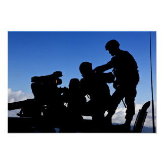 Silhouette of soldiers poster