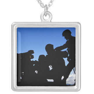 Silhouette of soldiers silver plated necklace