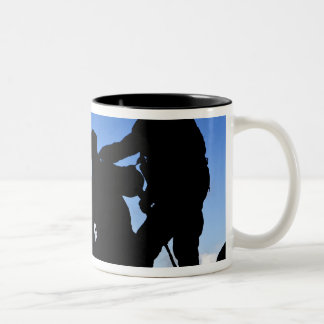 Silhouette of soldiers Two-Tone coffee mug