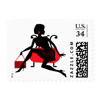 Silhouette of stylish fashion young woman postage
