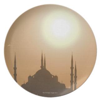 Silhouette of Suleymaniye Turkey, Istanbul Dinner Plate