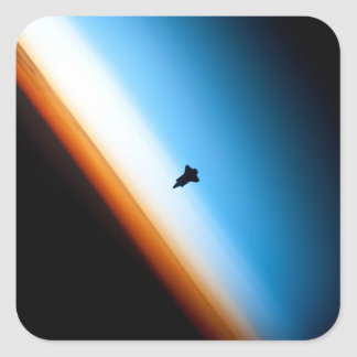 Silhouette of the Space Shuttle Endeavour Square Sticker