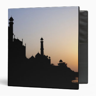 Silhouette of The Taj Mahal at sunset, Agra, 3 Ring Binder