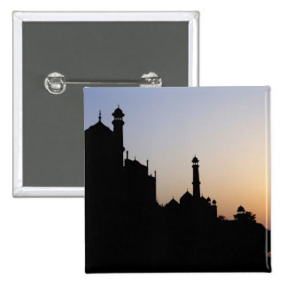 Silhouette of The Taj Mahal at sunset, Agra, 2 Inch Square Button