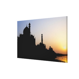 Silhouette of The Taj Mahal at sunset, Agra, Canvas Print