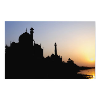 Silhouette of The Taj Mahal at sunset, Agra, Photo Print