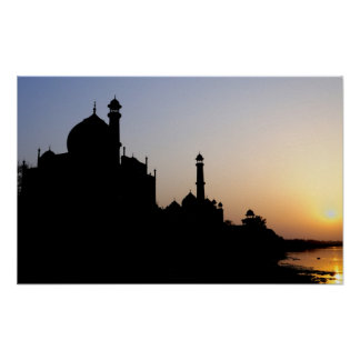 Silhouette of The Taj Mahal at sunset, Agra, Poster