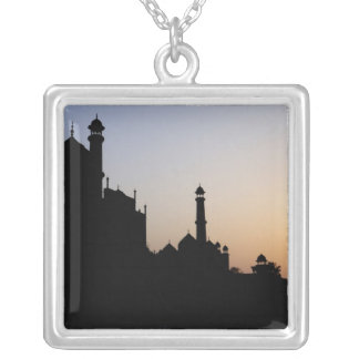 Silhouette of The Taj Mahal at sunset, Agra, Square Pendant Necklace
