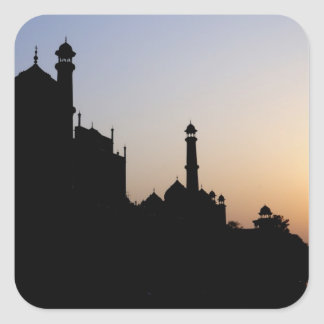 Silhouette of The Taj Mahal at sunset, Agra, Square Sticker