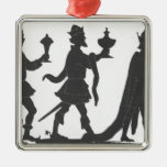 Silhouette of the Three Kings Square Metal Christmas Ornament