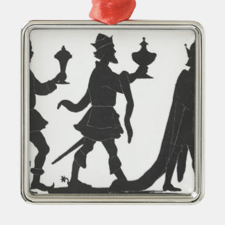 Silhouette of the Three Kings Square Metal Christmas Ornament