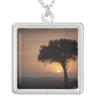Silhouette of tree on plain, Masai Mara 2 Square Pendant Necklace