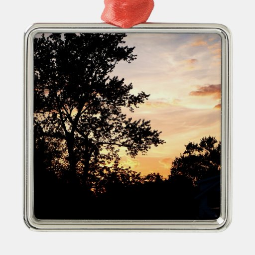 Silhouette of Trees at Sunset Ornaments