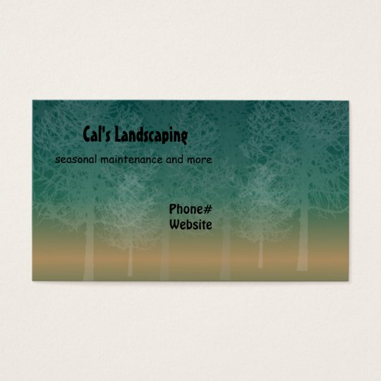 Silhouette of Trees Landscaping Design Business Card