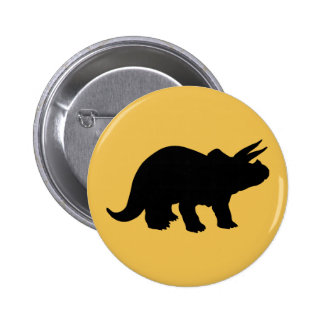 Silhouette of Triceratops Pinback Button
