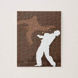 Silhouette of two men practicing karate jigsaw puzzle