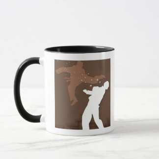 Silhouette of two men practicing karate mug