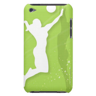 Silhouette of two women playing volleyball barely there iPod cases