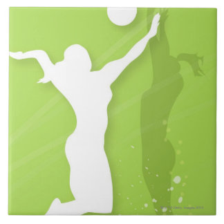 Silhouette of two women playing volleyball ceramic tile