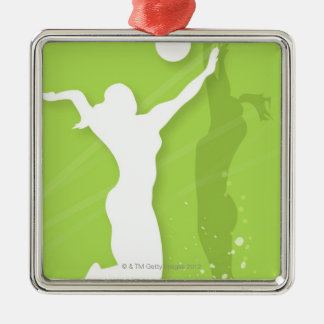 Silhouette of two women playing volleyball metal ornament