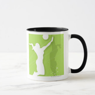 Silhouette of two women playing volleyball mug