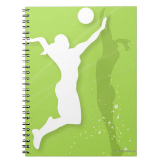 Silhouette of two women playing volleyball notebook