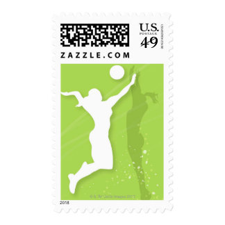 Silhouette of two women playing volleyball postage