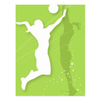 Silhouette of two women playing volleyball postcard