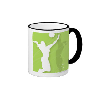Silhouette of two women playing volleyball ringer mug