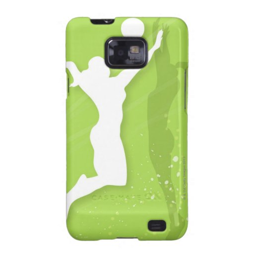 Silhouette of two women playing volleyball samsung galaxy SII case